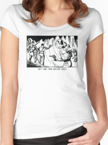 They come from another world! Sci-fi Pop Art Women's Fitted Scoop T-Shirt