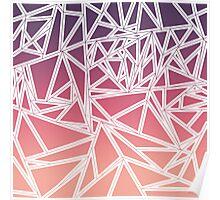 Purple Pink Peach Gradient Triangles Geometric Poster