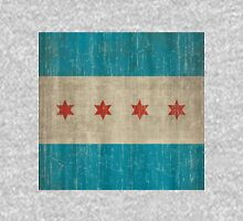Chicago flag distressed Zipped Hoodie