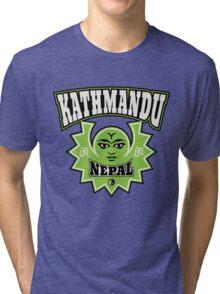 Kathmandu Nepal Sun and Moon Symbols Tri-blend T-Shirt