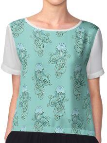 Abstract Blue Jellyfish Pattern Chiffon Top