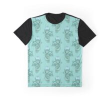 Abstract Blue Jellyfish Pattern Graphic T-Shirt