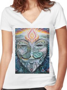 PSYCHEDELIC Anonymous Women's Fitted V-Neck T-Shirt