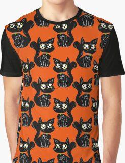 Big Eyed Black Cat Pattern Graphic T-Shirt