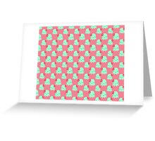 Aqua Flower Octopus Pink Pattern Greeting Card