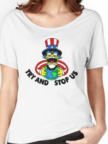 Try and Stop Us T-Shirt - Funny American Cartoon Uncle Sam Women's Relaxed Fit T-Shirt