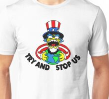 Try and Stop Us T-Shirt - Funny American Cartoon Uncle Sam Unisex T-Shirt