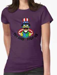 Try and Stop Us T-Shirt - Funny American Cartoon Uncle Sam Womens Fitted T-Shirt