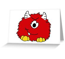 Fuzzy Little Monsters - Red Greeting Card