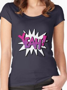 Comics Bubble with Expression Yeah in Vintage Style. Women's Fitted Scoop T-Shirt