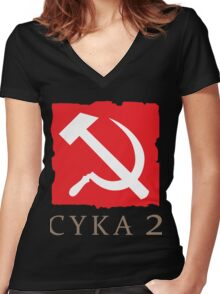 CYKA 2 Funny, Dota 2 Shirts Women's Fitted V-Neck T-Shirt