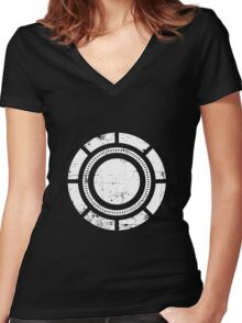 Distressed Arc Sheild Women's Fitted V-Neck T-Shirt
