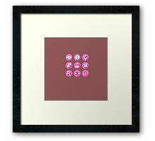 Call Center Support Icons Set in vector Framed Print