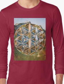 Mountain Geometric Collage Long Sleeve T-Shirt