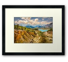 Valley wall, reservoir and mountains at Orxeta Framed Print
