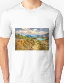Valley wall, reservoir and mountains at Orxeta Unisex T-Shirt