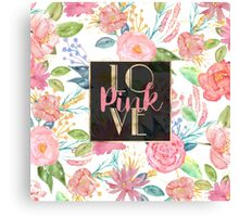 """Beautiful watercolor floral """"Love Pink"""" Canvas Print"""