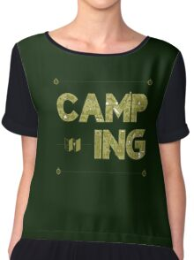 Camping Lettering. Travel Postcard.  Chiffon Top