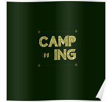 Camping Lettering. Travel Postcard.  Poster