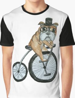 English bulldog riding a penny-farthing Graphic T-Shirt