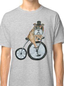 English bulldog riding a penny-farthing Classic T-Shirt