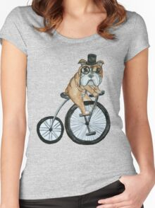 English bulldog riding a penny-farthing Women's Fitted Scoop T-Shirt