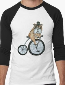 English bulldog riding a penny-farthing Men's Baseball ¾ T-Shirt