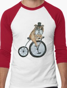 English bulldog riding a penny-farthing Men's Baseball ¾ T-Shirt