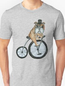 English bulldog riding a penny-farthing Unisex T-Shirt