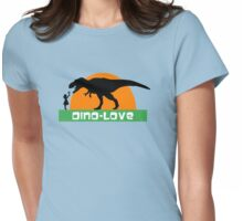 Little girl and dinosaur Womens Fitted T-Shirt