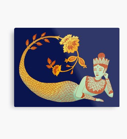 Flower Devi Green Goddess Metal Print