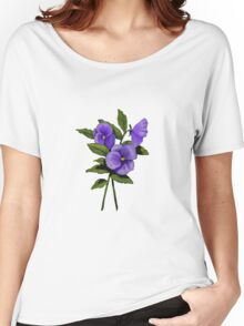 Purple Pansies: Original Colour Pencil Drawing, Flowers Women's Relaxed Fit T-Shirt