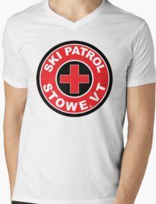 STOWE VERMONT Ski Patrol Ski Skiing Art Mens V-Neck T-Shirt
