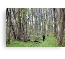 Woman hiker in the forest Canvas Print