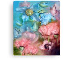 Poppies Peach & Blue Canvas Print