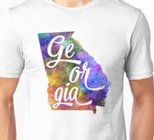 Georgia US State in watercolor text cut out Unisex T-Shirt