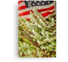 Frozen Plant with Flag Canvas Print