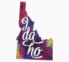Idaho US State in watercolor text cut out One Piece - Long Sleeve