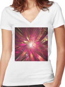 Starburst Women's Fitted V-Neck T-Shirt