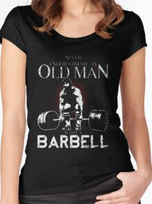 old man with a barbell Women's Fitted Scoop T-Shirt