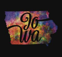 Iowa US State in watercolor text cut out. One Piece - Short Sleeve