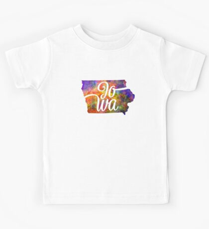 Iowa US State in watercolor text cut out. Kids Tee