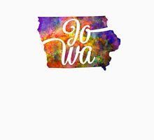 Iowa US State in watercolor text cut out. T-Shirt