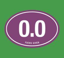 0.0 - NO FUCKS GIVEN - Pink Kids Tee