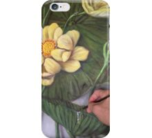 Detail of painting a water drop on a lotus. iPhone Case/Skin
