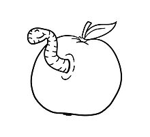 apple worm sweet disgusting hole larva caterpillar eating Photographic Print