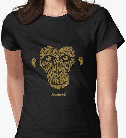 Jane Goodall love monkey Womens Fitted T-Shirt