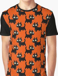 Black Kitten Halloween Pattern Graphic T-Shirt