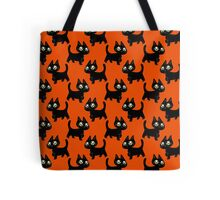 Black Kitten Halloween Pattern Tote Bag