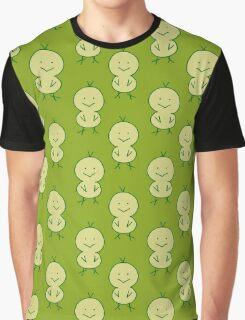 Cute Chick Green Pattern Graphic T-Shirt